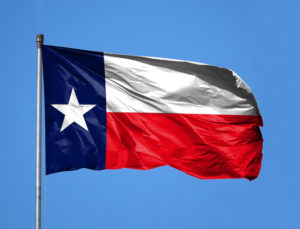 National flag State of Texas on a flagpole in front of blue sky.