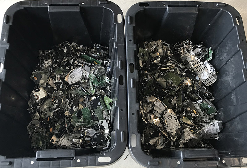 The remains of 100 shredded hard drives after destruction process through the CTS shred truck.
